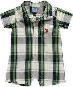 US Polo Assn Infant Boys Plaid White, Navy & Green Shortall