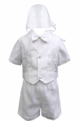 Unotux Baby Boy Christening Baptism White Shorts Cross Vest Set