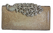Chicastic Mesh Rhinestone Peacock Hard Box Wedding Cocktail Clutch Purse