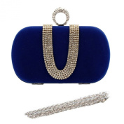 Chicastic Suede Velvet Rhinestone Stud One Ring Knuckle Duster Evening Cocktail Clutch Bag