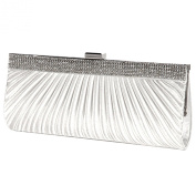 Anladia Satin Steel Crystal Diamante Evening Clutch Bag Prom Bridal Purse