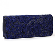 Black White Navy Blue Floral Lace Evening Party Clutch Bag Bridal Wedding Purse