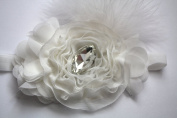 White Feather Soft Headband with. Rhinestone