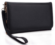 Wristlet Wallet with Detachable Strap and Credit Card Holder for LG G2 Mobile (Verizon T-Mobile AT & T Sprint) - Black