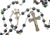 "Catholic Boys First Holy Communion Gift Black Moulded 6MM Bead with IHS Chalice Centre 18 1/2"" Rosary Necklace"