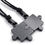 KONOV Jewellery 2pcs Mens & Womens Couples Stainless Steel Puzzle Pendant Love Necklace Set, Black