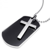 KONOV Jewellery Army Style Dog Tag Cross Pendant Mens Necklace, Colour Black Silver, 70cm Chain
