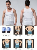 Double Strength MENS SLIMMING ABDOMEN COMPRESSION BODY SHAPER T-SHIRT TANK TOPS VEST WEIGHT-LOSE, Size M, White