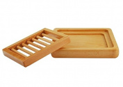 2 Piece Wooden Soap Dish (l) 14cm x (w) 12cm x (h) 2.5cm