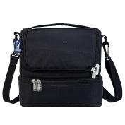 Rip-Stop Black Double Decker Lunch Bag