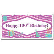 Happy 100th Birthday Purple Lines and Teal Icons 1.2mx2.4m Vinyl Banner