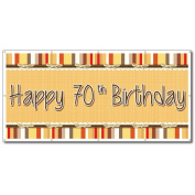 Happy 70th Birthday Bow and Stripes Pattern 0.9m x 1.8m Vinyl Banner