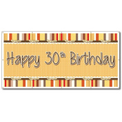 Happy 30th Birthday Bow and Stripes Pattern 0.9m x 1.8m Vinyl Banner