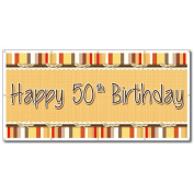 Happy 50th Birthday Bow and Stripes Pattern 1.2mx2.4m Vinyl Banner