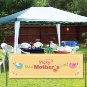 Happy Mother's Day 0.6mx1.8m Vinyl Banner Peach Background with Birds Design