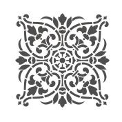 J BOUTIQUE STENCILS Damask Wall Stencil - Medium Size - Reusable Stencil for Home DIY decor FAUX MURAL V0011