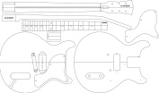 Electric Guitar Routing Template - LP JR DC 60cm Scale