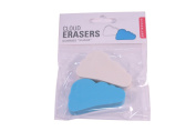 Two Cloud Shaped Erasers White and Blue
