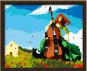 Diy oil painting, paint by number kit- Romantic melodies 16*50cm .