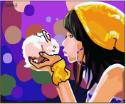 Diy oil painting, paint by number kit- Girl and rabbit 16*50cm .