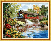 Diy oil painting, paint by number kit- Romantic bridges 16*50cm .