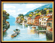 Diy oil painting, paint by number kit- Beautiful fishing village 16*50cm .