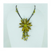 Flower Necklace Shell Cape (Green ) Size L 1 Piece Necklace Beautiful.