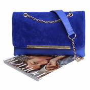 BMC Large Faux Suede Leather Gold Metal Chain Accent Envelope Clutch Handbag