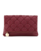 Deux Lux Fold-over Spiked Clutch Bag, Berry