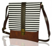 BDJ Stripe Cross Body Messenger Shoulder Handbag Men