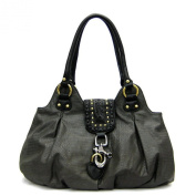 Designer Inspired Black Embossed Studs Lock Off White Satchel Bag Handbag Purse