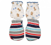 4 Pairs Cotton Newborn Baby/infant No Scratch Mittens Gloves - Little Dog + Stria
