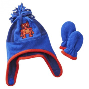 Toby Infant Boys Blue Fleece Robot Trapper Hat & Mittens Set