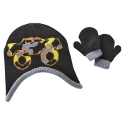 Toby Infant Boys Reversible Black Cammo Monster Truck Trapper Hat & Mittens Set
