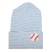 Melondipity's Newborn Boy Baseball Hospital Nursery Beanie - Blue and White Striped