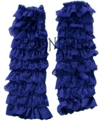 Navy Lace RUFFLE Baby Toddler Leg warmers. One Size. Tiers of Lace. Just Adorable!