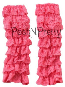 Dusty Pink Lace Ruffle Baby Toddler Leg Warmers. One Size. Tiers of Lace