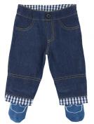 Tucker'd Baby Trousers Boy Blue Jean Pants w/ Attached Blue Socks