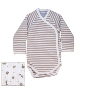 Nature's Nursery Long Sleeve Side Snap Babybody Baby Clothing in Tan Stripes