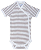 Nature's Nursery Short Sleeve Side Snap Babybody Baby Clothing in Tan Stripes Size