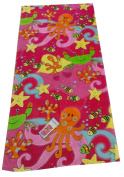 "Aloha 100% Cotton Beach Towel ""Under The Sea"" Pink/Multicoloured"