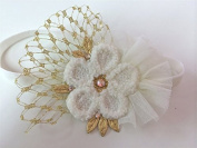 Ivory/gold Tulle Headband with French Vail