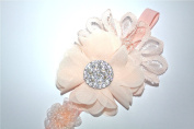 Soft Peach Baby Headband with Swarovski Rhinestones