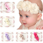 Towall 5PC Babys Elastic Chiffon Flower Headband