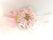 Pastel Pink Baby Headband with French Vail