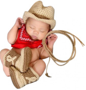 Melondipity's Cowboy Hat and Booties Set - Handmade in USA - Newborn Size Only