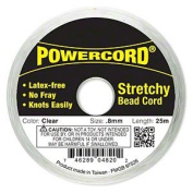 Powercord® Elastic Clear 0.8mm. 0.0314 inch 25-metre spool.