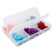 BEADNOVA Assorted Lot Synthetic Turquoise Carved Rose Howlite Coral Flower Carving Loose Beads for Jewellery Making