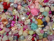 200pc Assorted Size & Colour Hearts, Stars, Flowers, Pearls, Bows Flat Back Pearls Cabochons BONUS PEPPERLONELY Refrigerator Magnet