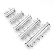 Beadnova Assorted Silver/ Gold Plated Multi Strand Slide Magnetic Tube Clasp for Necklace Bracelet